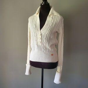 NWOT DKNY v-neck fisherman knit sweater